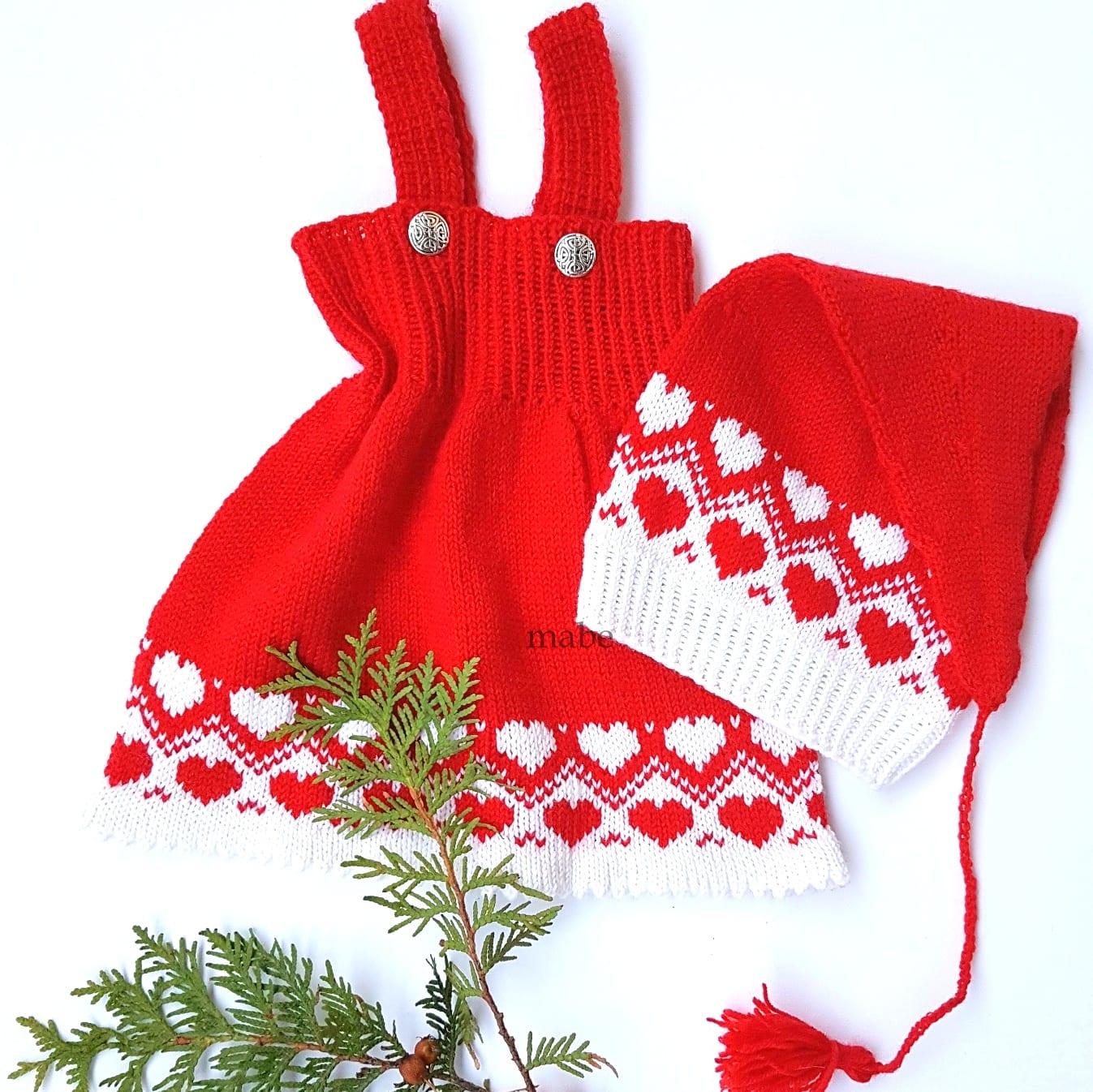 Desemberhjerter kjoleseleskjørt | Strikkoteket